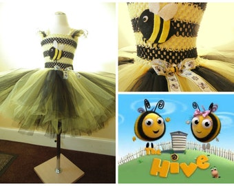 Bee tutu dress with 6 layers of tulle, and embellishments and ribbons
