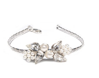 Silver wedding bracelet, Elegant bridal jewelry