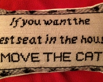 """Needlepoint Decorative Pillow """"Move the Cat"""""""