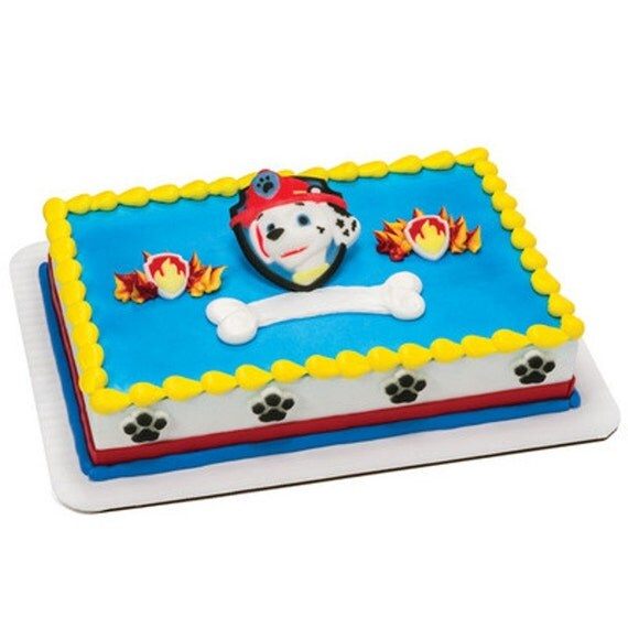 Etsy Cake Decorations : Paw Patrol Marshall Edible Sugar Cake Topper Decoration Set