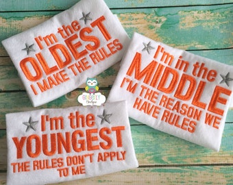 Oldest, Middle, and Youngest Set of 3 Embroidered Shirts or Bodysuits, Sibling Shirts