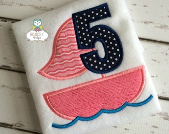 Sailboat Birthday Shirt, Girl Version, Summer Birthday Shirt, Girl Summer Birthday, Nautical Theme Birthday