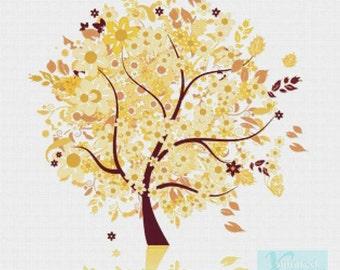 Yellow Tree PDF Cross Stitch Pattern
