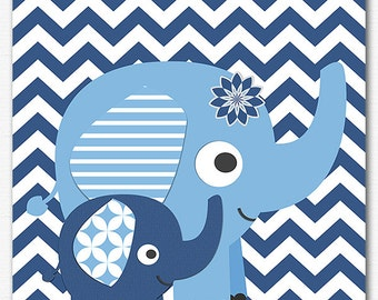 Navy and blue elephant nursery Art Print ,baby boy wall art, Children art, baby wall decor, elephant, chevron - UNFRAMED