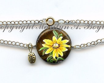 JEWELRY- ANKLET / BRACELET- hand painted stone, original,, flower, daisy, garden, nature, chain, brass ladybug, wearable art
