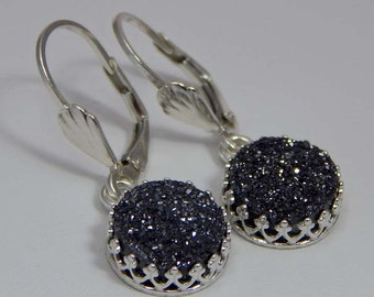 Black Druzy Quartz Dangle Earrings. Black Druzy Quartz Earrings. Black Druzy Drop Earrings
