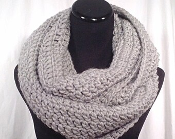 Light Grey Infinity Crochet Scarf