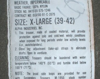 """US Navy Impermeable """"deck"""" trousers Extra-Large Alpha 1981"""