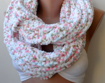 White Knitted Infinity Cowl scarf Winter Loop scarf White scarf Christmas soft scarfs Velvet Scarfs Circle Eternity Gifts for mothers