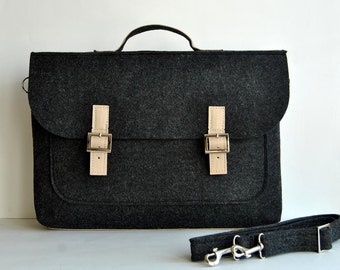 "SALE !! Felt laptop bag 17"" with leather straps, grip, bottom, briefcase 17 MacBook Pro laptop, urban felt bag, Leather felt bag briefcase"