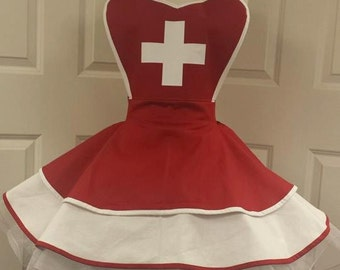 Nurse Fandom Cosplay Retro Pin Up Apron