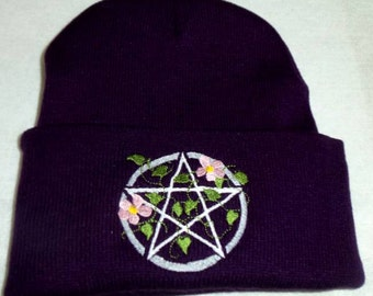 Winter Beanie With Vines and Flowers around Pentacle Embroidery Wiccan Pagan Clothing Purple Beanie Hat
