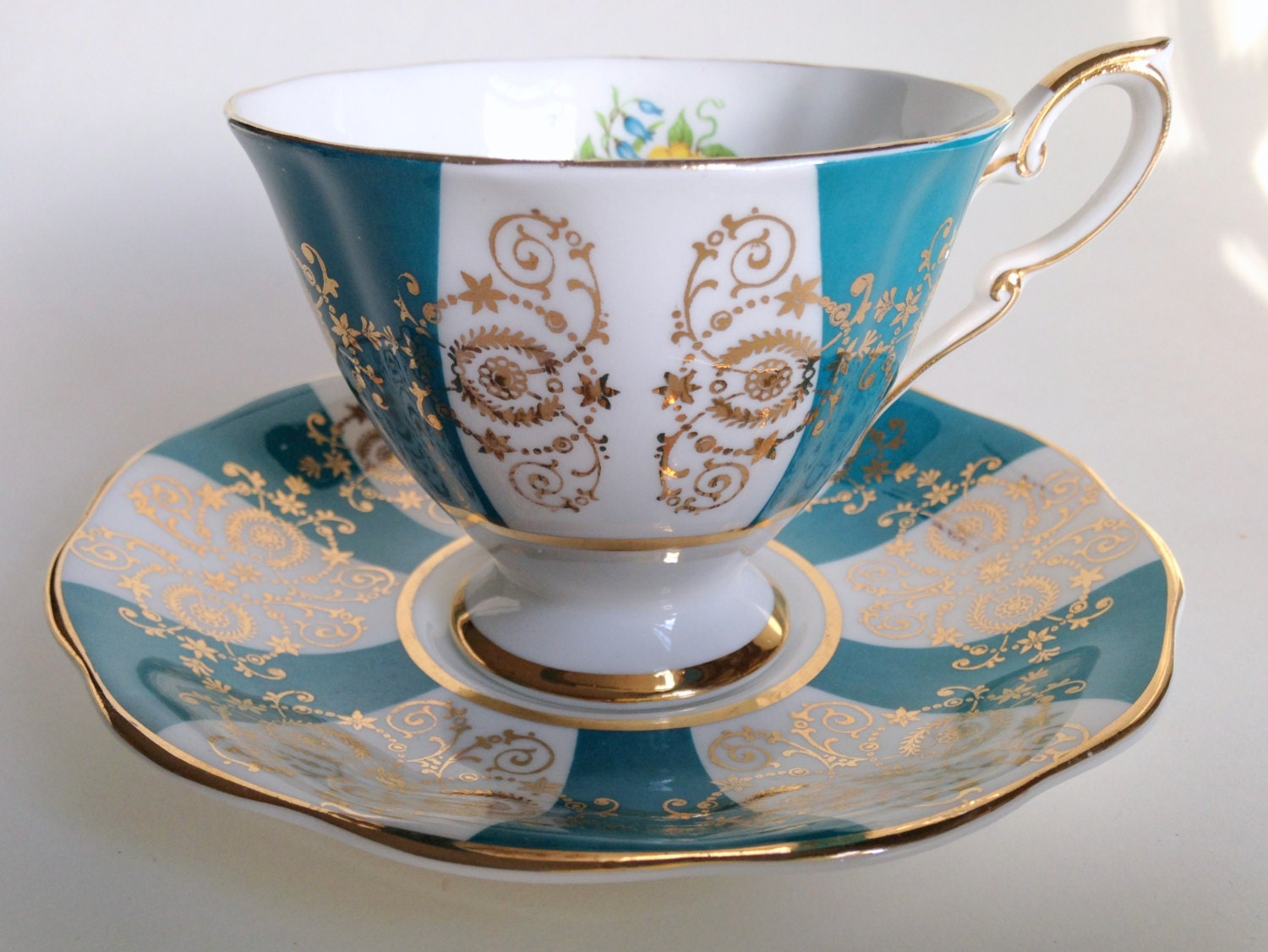 turquoise gold white royal standard teacup and by. Black Bedroom Furniture Sets. Home Design Ideas