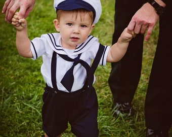 Infant Baby Boy Sailor Outfit, Shorts, attached suspenders, w/ Captain hat, Surprise Outfit, Birthday, Picture Day, Sailor, Navy Blue