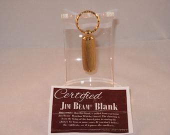 Handmade Secret Compartment Pill Box  Key Chain  (24Kt Gold finish)(Certified Jim Beam Blank)