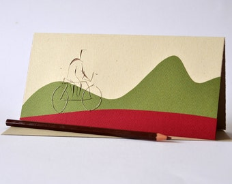 """Papercut greeting card """"mountain bike ride"""" eco friendly minimal wishing card, autumn-colored cardboards with wire- embroidered details"""