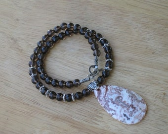 jasper and smoky quartz sterling silver necklace