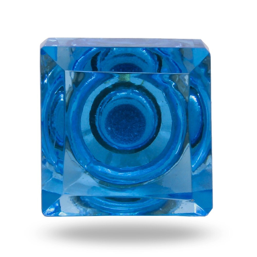 Square glass door knob in turquoise blue decorative dresser for Turquoise door knobs