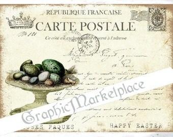Carte Postale Eggs Nest Easter Large Image Instant Download Vintage Transfer Pillows digital collage sheet printable No. 1864