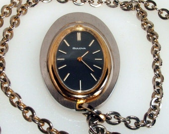 """Vintage Ladies 1974 Bulova 17 Jewels Wind Up Pendant Watch With 24"""" Chain"""