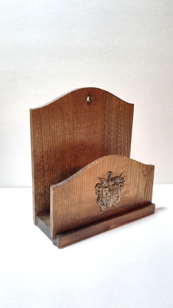 Vintage wood letter holder with metal crest desk by vintageyay for Vintage letter holder desk