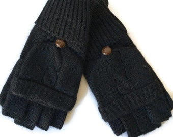 Cable knit Gloves, Black Knitted Gloves, Fingerless Gloves, Ladies Winter Mittens, Mitts, Texting Gloves