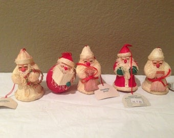 Vintage Wheatstraw Handcrafted Ornaments Santa Clause (5)