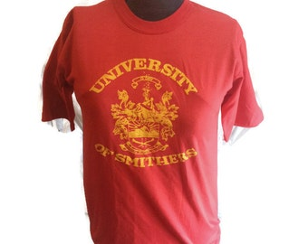 80's University of Smithers T-shirt / 1980's College Tee Shirt / University of British Columbia / 50/50 / Red & Yellow / Richmond / Medium M