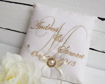 Embroidered Monogram Ring Bearer Pillow - Choose Your Own Color Combinations