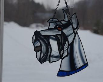 Custom made stained glass Schnauzer