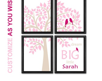 modern nursery art for baby girl wall decor birds in a tree new baby gift dream big baby shower gift personalized nursery print for girls