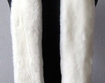 White Faux Fur Scarf - Faux Fur Neck Warmer - Hollywood Marilyn Monroe Scarf - Le Beau Cou_MADE TO ORDER