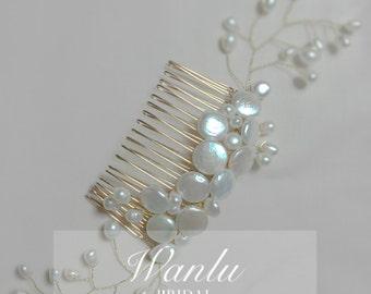 Bridal pearl headpiece, vintage hair comb, - freshwater pearls blossom headpiece --KIERA