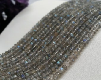 """Labradorite Faceted Rondelles AA quality 3-4mm, 13.5-14""""L"""