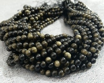 "Golden Obsidian Round Beads 6-10mm, 16""L"