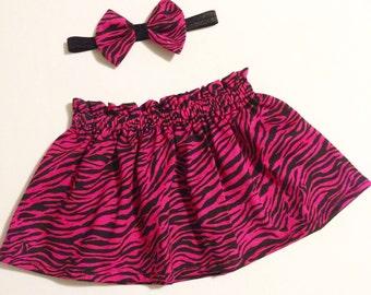 Zebra Skirt and Bow headband