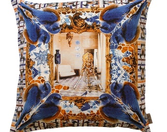 Hand collaged, digitally printed linen pillow, Taxidermy 18 in sq.TAX 011S