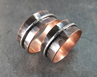 copper ring silver, copper wedding bands, rustic wedding rings, copper spin rings, spinning rings hammered copper, anniversary gift copper