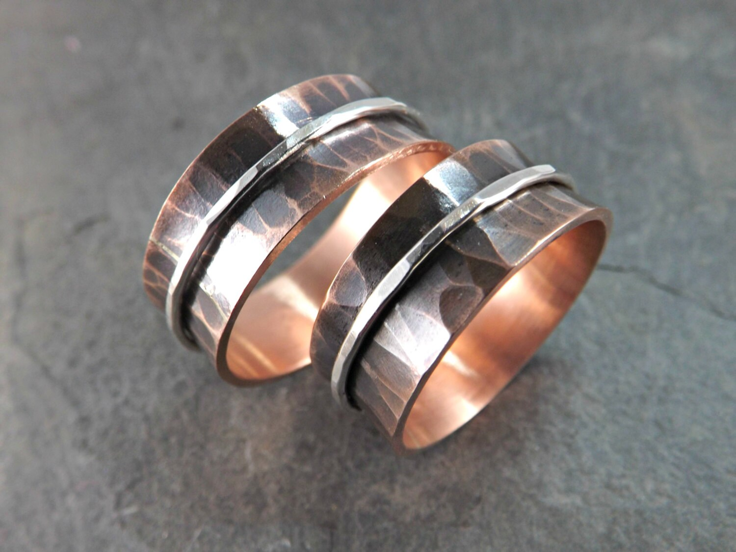 copper ring silver copper wedding bands rustic by crazyassjd With copper wedding rings