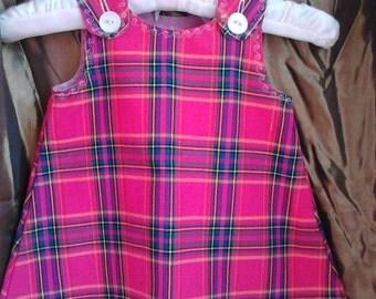 Pink Tartan Pinafore Dress Sizes 0-3 months to 6 years