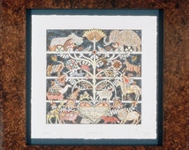 "Country Pennsylvania American folk art Fraktur tree of life print ""The Fifth Day""  colorful, whimsical animals with a biblical verse."