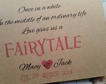 Love Gives Us A Fairytale...Personalised Wedding Card