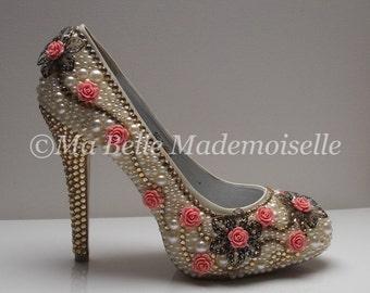 Swarovski Pearl & Crystal Bridal Shoe's Vintage Rose