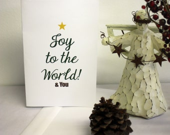 Christmas Card - Joy to the World & You. Simple and Modern Christmas Greeting Card with FREE Envelope