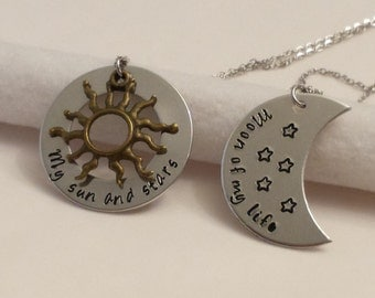 Game of Thrones inspired his and her necklaces, My sun and stars, moon of my life  necklace