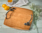 Large Metal and Wood Serving Tray with Hand Forged Iron Handles and Solid Cherry Hardwood.