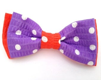 Purple bow tie, Easter bow tie, polka dot bow tie, white polka dot bow, orange bow tie.boys purple bow tie, kids purple bow tie,