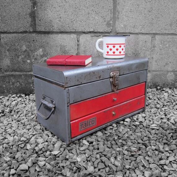 Industrial Metal Workmans Tools Jewellery Storage Box Chest