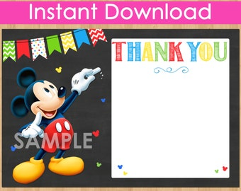 Mickey Mouse Thank You Card INSTANT DOWNLOAD, Mickey Thank You Card, DIY Printable Chalkboard Thank You matches Birthday Party Invitation