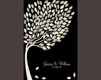 """Black and White Wedding, Guestbook Alternative, Wedding Guests Signature Tree, 16x20"""" Print with 134 Signature Leaves, Guestbook Poster"""